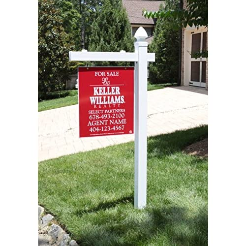 Vinyl PVC Real Estate Sign Post - White - 6 Tall Post