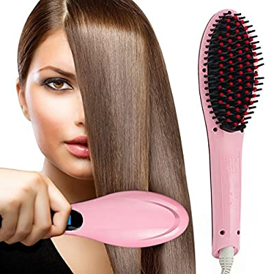 Hair straightener,PrettyQueen Professional Detangling Hair Brush Hair Styling Comb Digital Anti Static Anti-Scald Ceramic Heating Iron Pink Hair Massage Straightening Irons