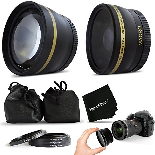 Superb 58mm Wide Angle Lens with Macro + 2 x Telephoto Lens Kit for CANON EOS REBEL T6i T6S T5 T5i T4i T3 T3i T2i T1i EOS M EOS M2 EOS 70D 60d 60Da 7D 6D 5D 7D Mark II 5D Mark II 5D Mark III EOS 1200D 1100D 760D 750D 700D 650D 600D 550D 8000D 100D XTi XT SL1 XSi DSLR Cameras (Canon Rebel Hood compare prices)