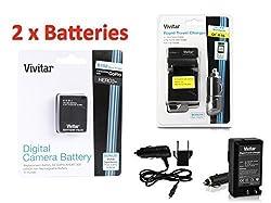 2 Pack of AHDBT-301 / AHDBT-302 Ultra High Capacity 1775mAH Li-ion Batteries for GoPro HD HERO3, GoPro HD HERO3+ (VIV-GP-HERO3+) + Vivitar Rapid Battery Charger (MPN: VIV-QC-816)