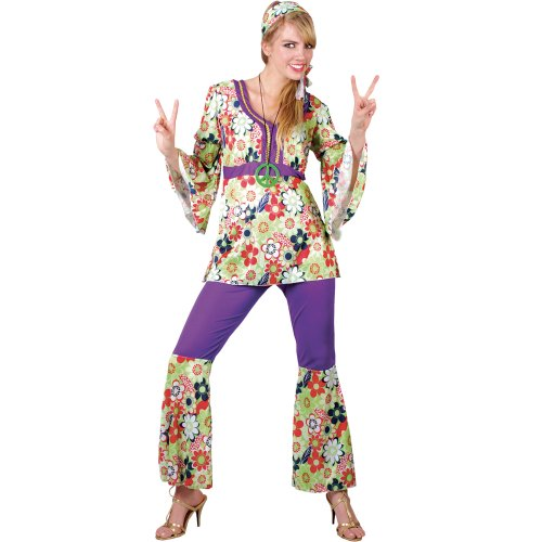Plus Size Hippie Chick Four Piece Adult Costume. Size 22-24.