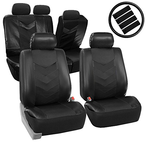FH-PU021115 Synthetic Leather Full Set Auto Seat Covers w. Accessories Solid Black- Fit Most Car, Truck, Suv, or Van (Solid Red Seat Covers compare prices)