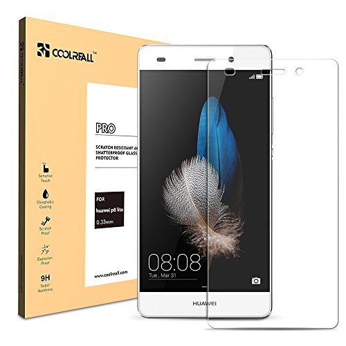 Coolreall Huawei P8 Lite ScreenProtector TemperedGlassScreenProtectorFilm - Transparent(0.33mmHDUltraClear)