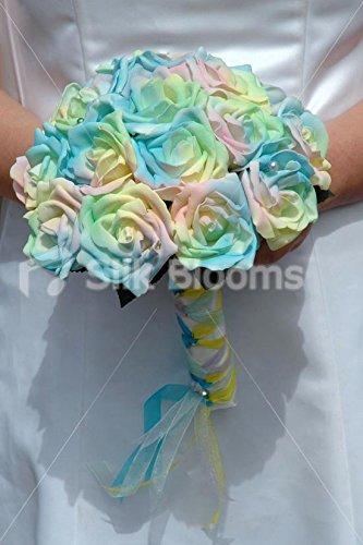 moderne-contemporain-arc-en-ciel-pastel-rose-mariage-bouquet