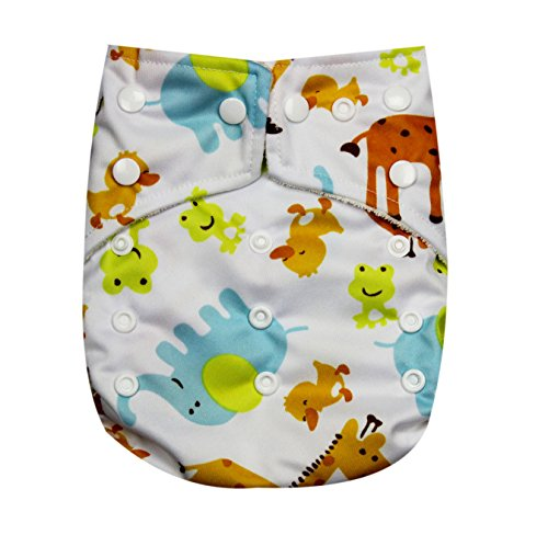 "Kawaii Baby One Size Organic Bamboo Terry Cloth Diaper with 2 Bamboo Inserts "" Giraffe "" - 1"