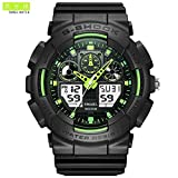SMAEL SME36 Men's Sports Analog Digtal Wrist Watch Dual Quartz Movement Military Time Water Resistant with Backlight (Black-Green) (Color: Black-Green, Tamaño: 17mm)