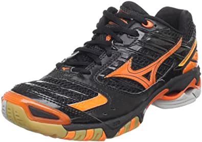 Mizuno Women's Wave Lightning 7 Volleyball Shoe,Black/Orange,10.5 M US