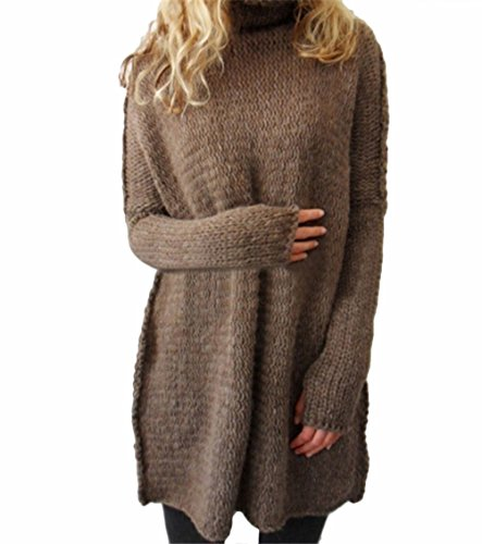 T.Floor Women Winter Oversized Batwing Sleeve Loose Cardigan Cowlneck Mohair Knitted Sweater,Coffee XL