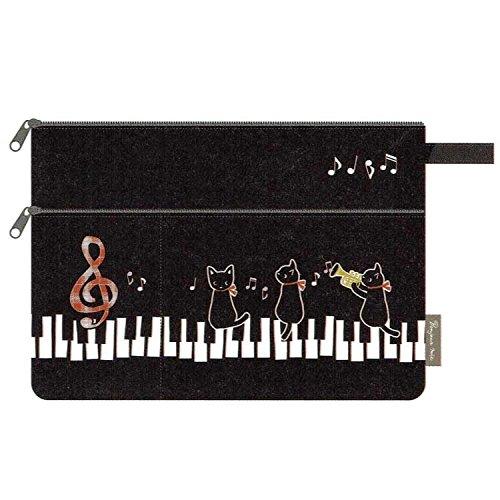 【黒猫ミィー】2段ポーチ(ピアノ)[227249]