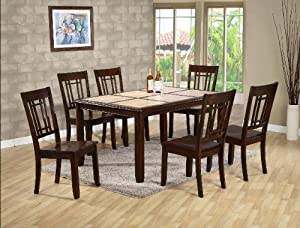 7PC Tile Top Dining Table And Chairs Set Furniture Decor