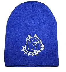 Pit Bull Head Beanie - Adult (Blue)