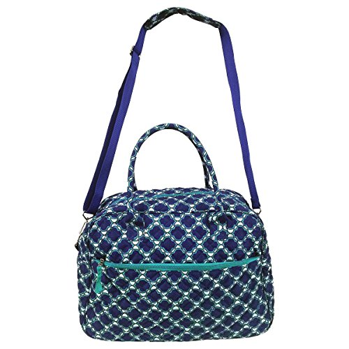 Large Quilted Cotton Duffel Bag Blue Moroccan Trellis Shoulder Shop Tote Women (Quilted Duffle Bags Under $20 compare prices)