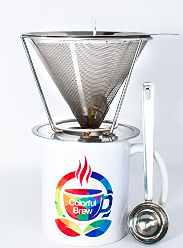 Pour-Over-Coffee-Maker-High-Quality-Stainless-Steel-Filter-Makes-4-Cups-of-Coffee-Reusable-and-Paperless-Drip-Filter-Comes-With-Spoon