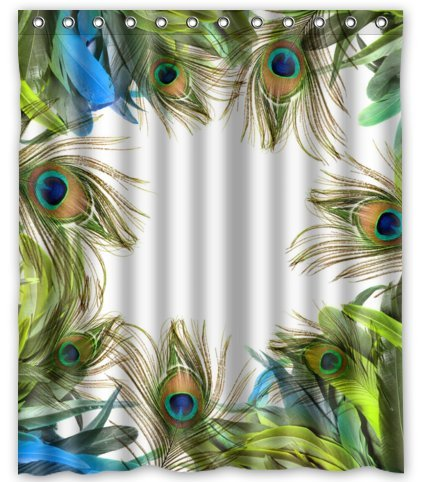 Unique Custom Fashionable Design Peacock Feather Waterproof Polyester fabric Shower Curtain 60