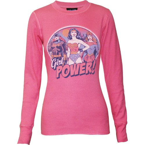 Batgirl, Wonder Woman, & Supergirl Girl Power Juniors Long Sleeve Thermal T-Shirt Size Medium