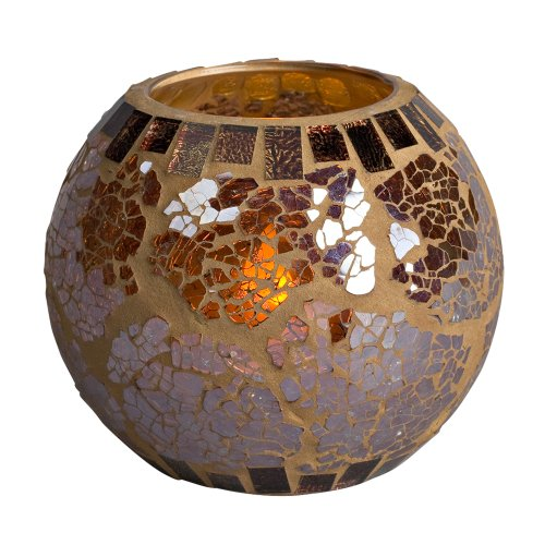 Gerson 5 by 4-Inch Mosaic Glass with Embedded Candle LED Resin Wax Light with Timer