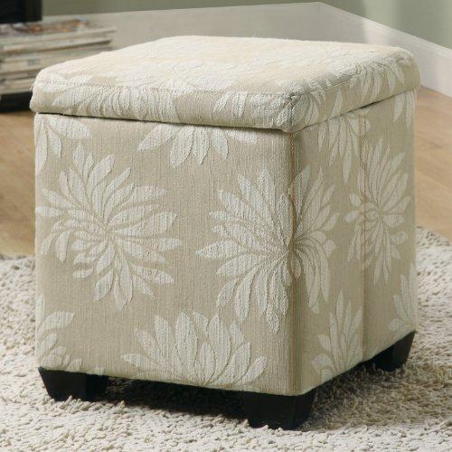 Monarch Specialties Flower Fabric Storage Ottoman, Tan/Beige