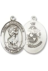"Made in America! Sterling Silver St. Christopher Military Us Marines Marine Corp Medal Pendant with 24"" Stainless Steel Chain in Gift Box Armed Forces. Catholic Saint Christopher Patron Saint of Bookbinders, Epilepsy, Gardeners, Mariners, Pestilence, Thunder-storms, Travelers, Travel, Motorists, Truck Drivers, Bus Drivers, Archers, Automobile Drivers, Bachelors, Cab Drivers, Epileptics, Floods, Fruit Dealers, Gardeners, Hailstorms, Holy Death, Lightning, Mariners, Market Carriers, Pestilence, Sudden Death, Taxi Drivers, Toothache, Transportation Workers."