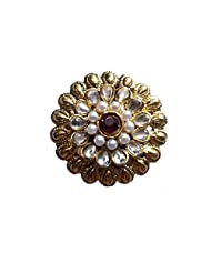 Unicorn Adjustable Red And White Ethnic Fashion Ring With Kundan Pearls On Non-Precious Metal For Women