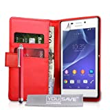 Yousave Accessories Sony Xperia M2 Case Red PU Leather Wallet Cover With Stylus Pen