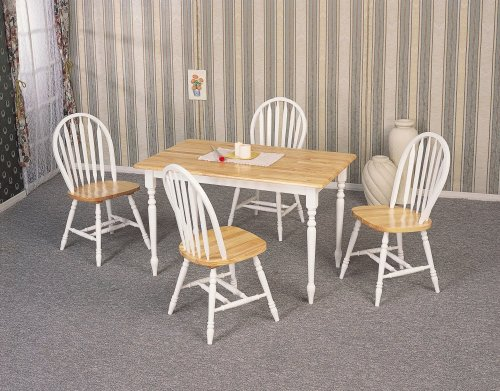 Buy Low Price Coaster 5pc Dining Table & Windsor Chairs Set White & Oak Finish (VF_AZ00-13452×29110)