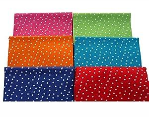 The Craft Cotton 18 x 22-Inch 6-Piece Fat Quarter Bright Coloured Spotty Fabric Bundle