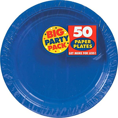 Big Party Pack Paper Dinner Plates 9-Inch, 50/Pkg, Bright Royal Blue