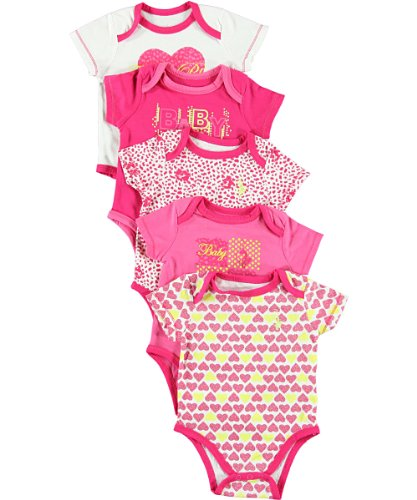 """Baby Phat Baby Girls' """"Dotty Glam"""" 5-Pack Bodysuits - Hot Pink, 3 - 6 Months front-572464"""