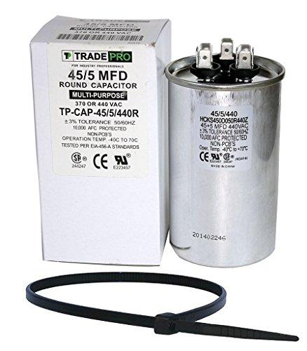 TradePro 45+5 uf MFD 370 or 440 Volt Dual Run Round Capacitor Bundle TP-CAP-45/5/440R Condenser Straight Cool/Heat Pump Air Conditioner and Zip Tie (Hvac Dual Capacitor compare prices)