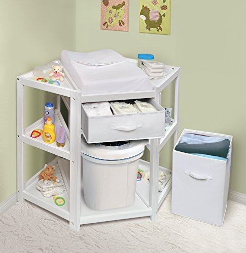 Badger Basket Diaper Corner Baby Changing Table with Hamper and Basket, White