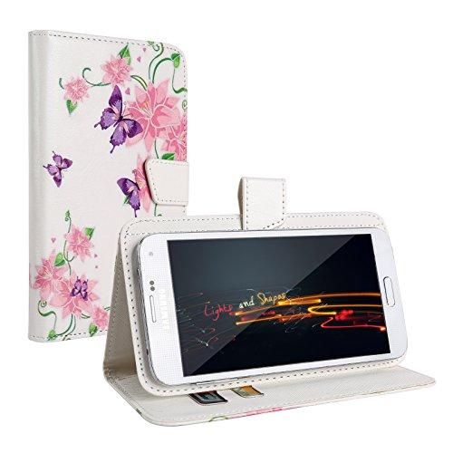 """Schmetterling&Blumen Schutz-hülle Tasche Case Cover für 4,0"""" - 4,5"""" Zoll Handy Smart Phone, kompatibel mit Samsung Galaxy S4 I9505, Samsung GALAXY S3 i9300, Samsung Galaxy G3500, NOKIA LUMIA 625, Nokia Lumia 720, Nokia Lumia Icon, SONY ERICSSON XPERIA T LT30P, LG OPTIMUS TRUE HD LTE P936, LG E975 Optimus G, LG PRADA PHONE P940, HTC Evo 3d Smartphone, ARCHOS 45 Helium 4G, ARCHOS 45 Titanium, CUBOT GT72 Smartphone, CUBOT ONE 4.7"""" IPS 720P HD 3G Smartphone, ZTE Blade G (11,4 cm) 4,5 Zoll"""