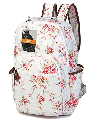 Leaper Waterproof Canvas + PVC Layer School Backpack Cute Floral Laptop Bag Casual Daypack (Large,White)