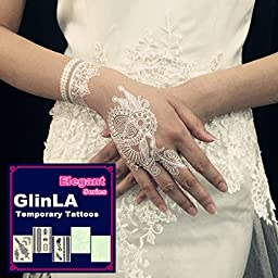 Glinla Stylish Elegant Series White Lace Bracelets Jewelry Body Art Stickers Temporary Tattoos 6 Sheets Pack + 1 Random Sheet Free Gift