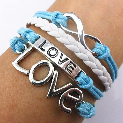 Handmade Infinity Bracelet Love Sky Blue Rope