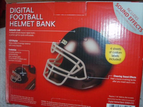 Digital Football Helmet Bank - Black - 1