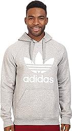 adidas Originals Men\'s Originals Trefoil Hoodie, Medium Grey Heather/White, Small