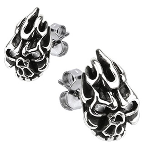 Spikes Mens 316L Surgical Stainless Flaming Demon Skull CZ Eyes Stud Earring