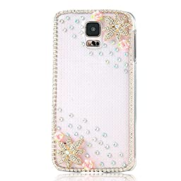 Samsung Galaxy S5 Case, Sense-TE Luxurious Crystal 3D Handmade Sparkle Glitter Diamond Rhinestone Ultra-Thin Clear Cover with Retro Bowknot Anti Dust Plug - Flowers / Pink