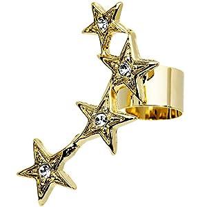 Clear Gem 18KT Gold Plated Four Stars Ear Cuff