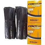 タイヤとチューブ2本セット Continental(コンチネンタル) GRAND PRIX 4000 S II グランプリ4000S2 エコパッケージ ( (25C+チューブ(race28) 仏式42mm )) [並行輸入品]
