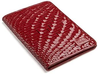 """Cole Haan Hand-Woven Patent Leather Kindle Cover with Hinge (Fits 6"""" Display, 2nd Generation Kindle), Ruby Sugar"""