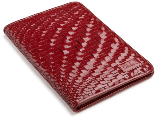 Cole Haan Hand-Woven Patent Leather Kindle Cover with Hinge (Fits 6″ Display, 2nd Generation Kindle), Ruby Sugar