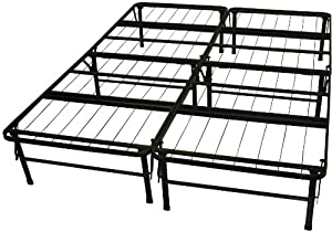 Elegant Epic Furnishings Dura Bed Heavy Duty Black Steel Platform Folding Bed Frame Queen