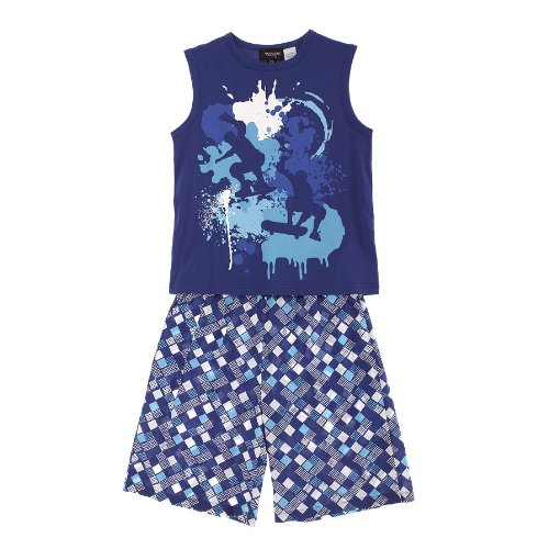 Sovereign Sleepwear Boy Graffiti Print Blue Vest And Shorts Summer Pj Set