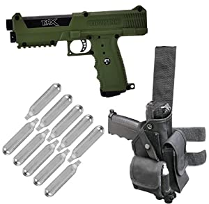 Tippmann TiPX Paintball Pistol w/ Holster and 10 Co2 Cartridges - Olive