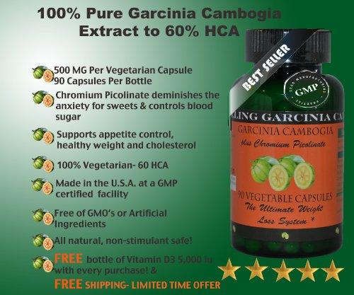 Garcinia Cambogia 60% Hca Plus Chromium Picolinate 90 Vegetarian Capsules Plus Free Vitamin D 3 Plus 30 Softgels