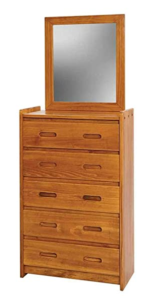 Rustic Five Drawer Chest and Mirror Set