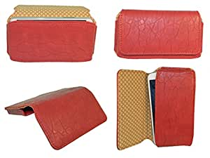 Generic Premium Leather Fabric Hand Pouch for - Sony Xperia C5 -XPC5 - Red - HDPRD60#1584DR