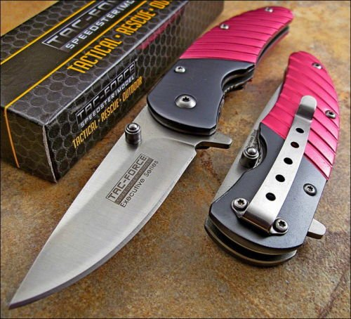 Tac-Force Pink Anodized Aluminum Executive Series Knife New!!
