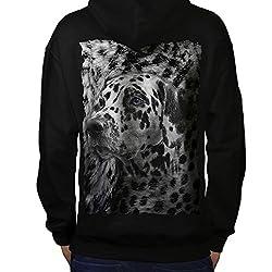 Dalmatian Dog Face Mens Animal Style Black Hoodie Back S-5XL   Wellcoda